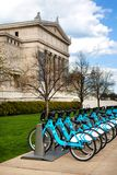 CHICAGO, IL, USA - MAY 4, 2014: Available bikes for rent at the Divvy station in front of the Field Museum on Northerly Island Chi Stock Image