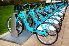 CHICAGO, IL, USA - MAY 4, 2014: Available bikes for rent at the Divvy station on Northerly Island Chicago. Stock Images