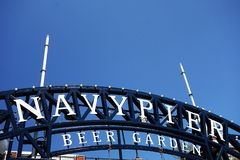 CHICAGO,IL/USA - 8-08-2017: Navy Pier sign, on the shores of Lake Michigan in downtown Chicago royalty free stock photo