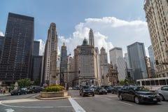 Chicago, IL/USA - vers en juillet 2015 : Avenue du nord du Michigan de Chicago du centre, l'Illinois Photographie stock