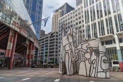 Chicago, IL/USA - vers en juillet 2015 : Monument avec la sculpture debout en bête Chicago du centre, l'Illinois photographie stock libre de droits