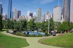 Chicago, IL, Vereinigte Staaten - 3. September 2017: Ansicht von Chicago-Skylinen von Maggie Daley Park Stockfotos