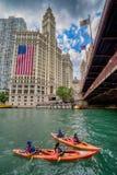 Chicago, IL Verenigde Staten - Augustl 09, 2017: De zomerkayakers Royalty-vrije Stock Foto