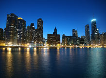Chicago Illinois. Chicago and Lake Michigan shoreline with clear night skies Stock Photography