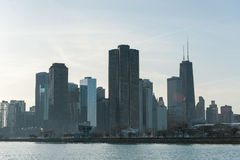 CHICAGO, ILLINOIS - APRIL 17, 2016: Chicago Business District, Downtown, Skyscraper. Michigan Lake Royalty Free Stock Images