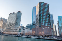 CHICAGO, ILLINOIS - APRIL 17, 2016: Chicago Cityscape with Skyscraper and Chicago River Royalty Free Stock Photos