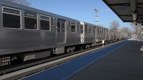 CHICAGO, ILLINOIS - APRIL 17, 2016: Chicago Metro Line. Train is Approaching. stock video