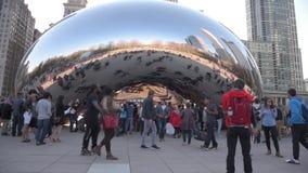 CHICAGO, ILLINOIS - APRIL 17, 2016: Chicago Park and Cityscape Millennium Park. Cloud Bean Gate stock video footage