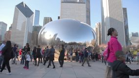 CHICAGO, ILLINOIS - APRIL 17, 2016: Chicago Park and Cityscape Millennium Park. Cloud Bean Gate stock video