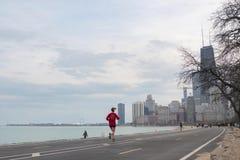 Chicago, Illinois: 17 april, timelapse van 2019 van plaatselijke bewoners en toeristen die langs de meerkust uitoefenen in Chicag stock footage