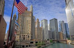 Chicago, Illinois and the Chicago River. Chicago, Illinois architecture and skyline along the Chicago river royalty free stock photography
