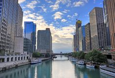 Chicago, Illinois and the Chicago River. Chicago, Illinois architecture and skyline along the Chicago river royalty free stock photo
