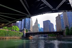 Chicago, Illinois and the Chicago River. Chicago, Illinois architecture and skyline along the Chicago river stock photos