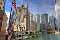 Chicago, Illinois and the Chicago River. Chicago, Illinois architecture and skyline along the Chicago river stock photo