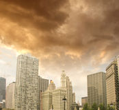 Chicago, Illinois. Beautiful view of Buildings with colourful sk Royalty Free Stock Image