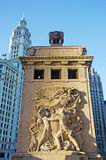 Chicago, Illinois: city inscription on Michigan Avenue Bridge and Wrigley building on September 22, 2014 Royalty Free Stock Photography