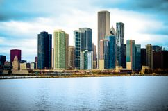 Chicago Illinois City Skyline. The Chicago city skyline on the water taken from the shore of Navy Pier royalty free stock image