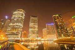 Chicago illinois city skyline at night time Stock Photo