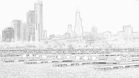 Chicago Illinois cityscape architecture with downtown skyscrapers. Chicago, Illinois skyline seen from the shores of Lake Michigan in late winter Royalty Free Stock Images