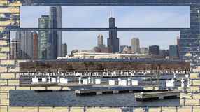 Chicago Illinois cityscape architecture with downtown skyscrapers. Chicago, Illinois skyline seen from the shores of Lake Michigan in late winter Royalty Free Stock Photos