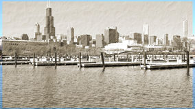 Chicago Illinois cityscape architecture with downtown skyscrapers. Chicago, Illinois skyline seen from the shores of Lake Michigan in late winter Stock Photo