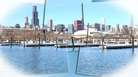 Chicago Illinois cityscape architecture with downtown skyscrapers. Chicago, Illinois skyline seen from the shores of Lake Michigan in late winter Stock Photos