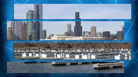 Chicago Illinois cityscape architecture with downtown skyscrapers Royalty Free Stock Images
