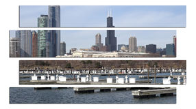 Chicago Illinois cityscape architecture with downtown skyscrapers Royalty Free Stock Photos