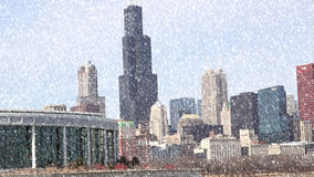 Chicago Illinois cityscape architecture with downtown skyscrapers Stock Photos