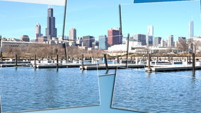 Chicago Illinois cityscape architecture with downtown skyscrapers. Chicago, Illinois skyline seen from the shores of Lake Michigan in late winter Stock Images