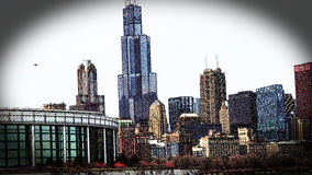 Chicago Illinois cityscape architecture with downtown skyscrapers Stock Images