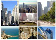 Chicago, Illinois collection. Collage of pictures they show the city of Chicago, Illinois. Images taken from Michigan Avenue, Lake Michigan, Buckingham Fountain stock image