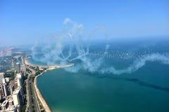 Chicago, Illinois - de V.S. - 19 Augustus, 2017: Vliegtuigen die vliegen met Royalty-vrije Stock Foto's
