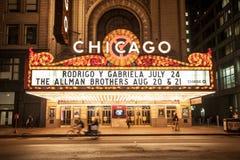 Chicago, Illinois/de V.S. - 28 Juni 2013: Het Theater van Chicago bij nacht Stock Foto