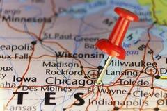 Chicago Illinois festgesteckt auf Karte Lizenzfreie Stockfotografie