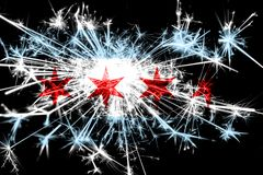 Chicago, Illinois fireworks sparkling flag. New Year 2019 and Christmas party concept. Chicago, Illinois fireworks sparkling flag. New Year 2019 and Christmas stock images