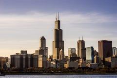 Chicago Illinois horisont med Willis Tower på solnedgången Arkivfoton