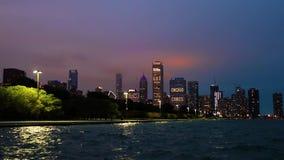 Chicago, Illinois horisont på natten lager videofilmer