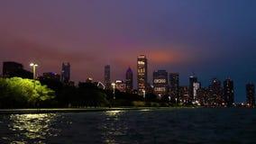 Chicago, Illinois horisont på natten stock video