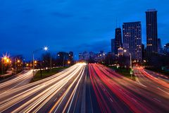 Chicago, Illinois Lake Shore Drive at night. Royalty Free Stock Photos