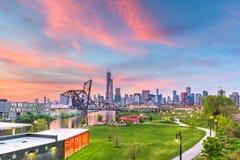 Chicago, Illinois, los E.E.U.U. parquea y horizonte céntrico foto de archivo libre de regalías