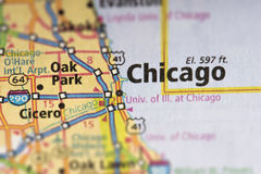 Chicago, Illinois on map. Closeup of Chicago, Illinois on a road map of the United States Stock Photo
