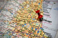Chicago, Illinois. A map of Chicago, Illinois marked with a push pin royalty free stock image