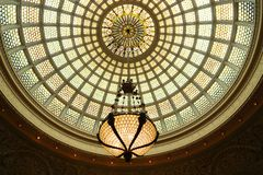 The world`s largest Tiffany glass dome at Preston Bradley Hall in Chicago Cultural Center stock image