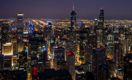 Chicago Illinois At Night Royalty Free Stock Photo