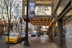Cadillac Palace Theatre in Chicago at Christmas Royalty Free Stock Photography
