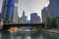 Chicago, Illinois and the Chicago River. Chicago, Illinois architecture and skyline along the Chicago river royalty free stock photos
