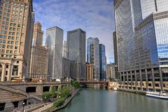 Chicago, Illinois and the Chicago River. Chicago, Illinois architecture and skyline along the Chicago river royalty free stock images