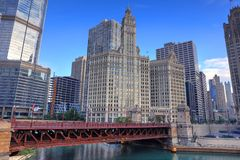 Chicago, Illinois and the Chicago River. Chicago, Illinois architecture and skyline along the Chicago river royalty free stock image