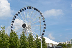 Centennial Wheel at Navy Pier. CHICAGO, ILLINOIS - SEPTEMBER 5, 2016: Centennial Wheel at Navy Pier. The new attraction seen from Lake Michigan stock images